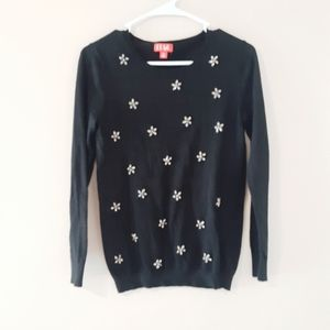 ELLE Black Sweater with Bling Flowers